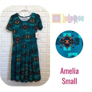 NWT LulaRoe Amelia teal Aztec print dress